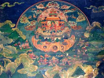 top: Copper-colored Pure Land at Samye Monastery, Tibet/   Bottom: Elephant at entrance to Samye Monastery, Tibet