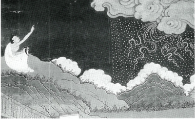 Although Milarepa became a great sorcerer, conjuring hailstorms as pictured above, his remorse over his deeds overwhelmed him.