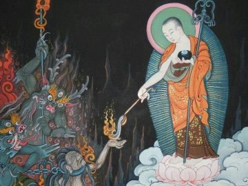 Gizo-decends-to-hell-on-a-lotus-throne-to-help-those-suffering-in-hell-Buddha-Weekly